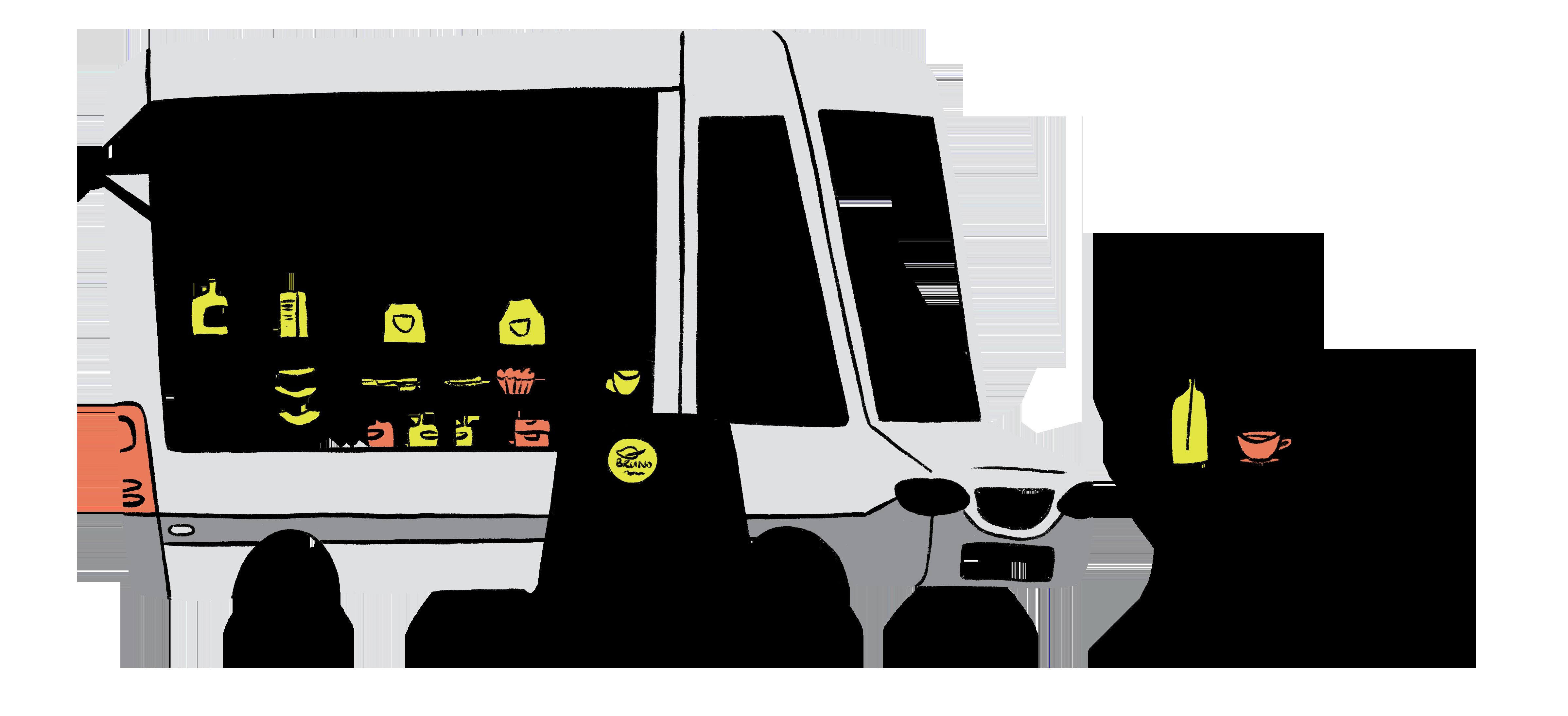 Bruno unverpackt - Illustration vom unverpackt Wagen